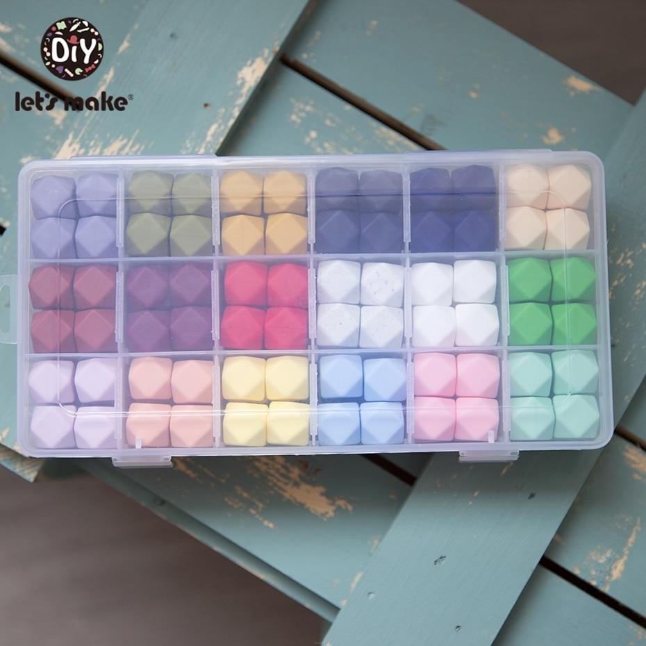 Let's Make Wholesal 500pc Large 17mm Geometric/Hexagon Silicone Beads DIY Sensory Activity Teether Rattle Toy Nursing Pendant