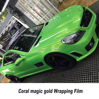 Wholesale Vinyl Car Wraps Cost Brilliant Coral green Color Fleet Decal Shield Best PVC Sticker Material Removable Washable