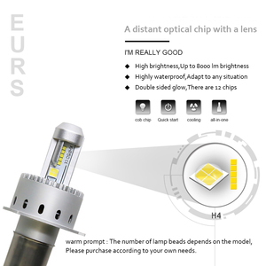 EURS фотоаппаратов моментальной печати 7S H4 светодиодный H7 светодиодный Автомобильные фары мотоцикла светодиодный лампа 40 Вт 8000LM H1 H8 H9 H11 HB3 9005 ...