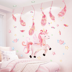 Cartoon Unicorn Animal Wall Stickers DIY Pink Feathers Wall Decals for Kids Room Baby Bedroom Home Decoration