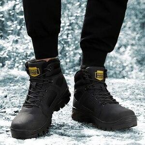 Image 3 - אופנה גברים חורף שלג מגפי להתחמם מגפי קטיפה קרסול אתחול שלג נעלי עבודה מזדמן גברים של שלג מגפי גודל 40 46