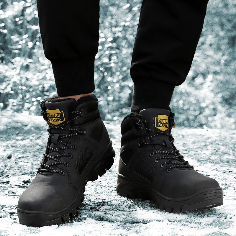 Fashion Men Winter Snow Boots Keep Warm Boots Plush Ankle Boot Snow Work Shoes Casual Men's Snow Boots Size 40 46 - 3