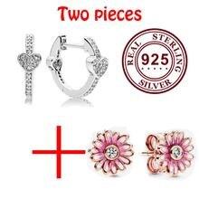 100% 925 стерлингового серебра Пан серьги модное розовое золото