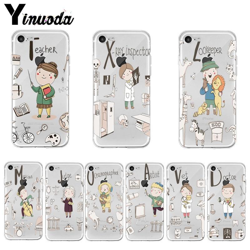 Yinuoda dessin animé mignon Profession enseignant haute qualité classique étui de téléphone pour iPhone 8 7 6 6S Plus X XS MAX 5 5S SE XR 11 pro max