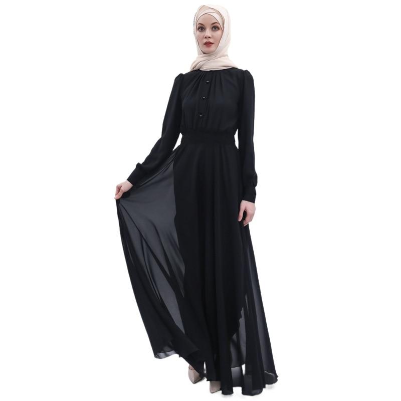 Fashion Abayas for Women Chiffon Muslim Dress Turkey Muslim Women Hijab Dress Islam Caftan Marocain Dresses Vestidos Eid Mubarak 6