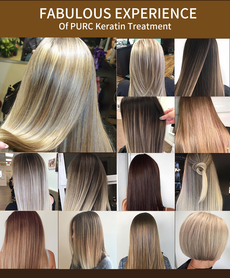 Purc Straightening Hair Repair And Straighten Damage Hair Products Brazilian Keratin Treatment + Purifying Shampoo Hair Care Set