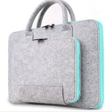 Felt Laptop Sleeve Bag Notebook Parts Pouch Storage Case with Handle 2 Pockets Protective Handbag for Laptop Tablet 15 * 11 Inch(China)
