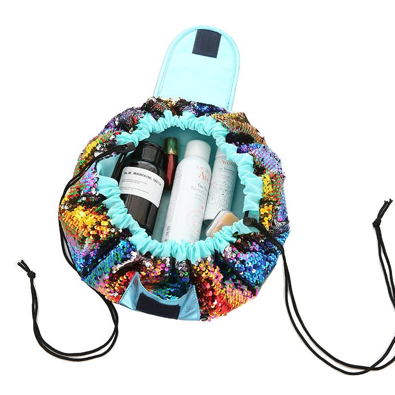 Women Travel Toiletry Wash Cosmetic Bag Fashion Makeup Storage Case Mermaid-color Drawstring Shrink Organizer Accessories Items