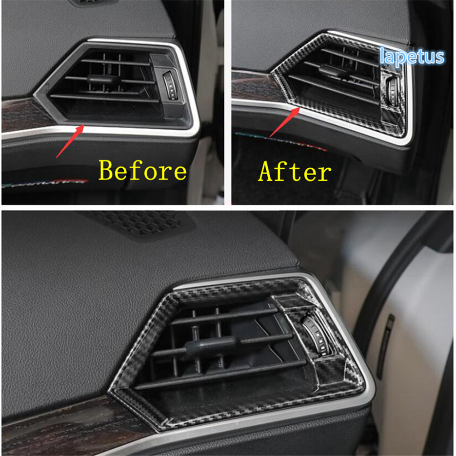Lapetus Front Air Conditioning AC Outlet Vent Decoration Frame Cover Trim Fit For BMW 3 Series G20 2019 2020 / Carbon Fiber ABS image