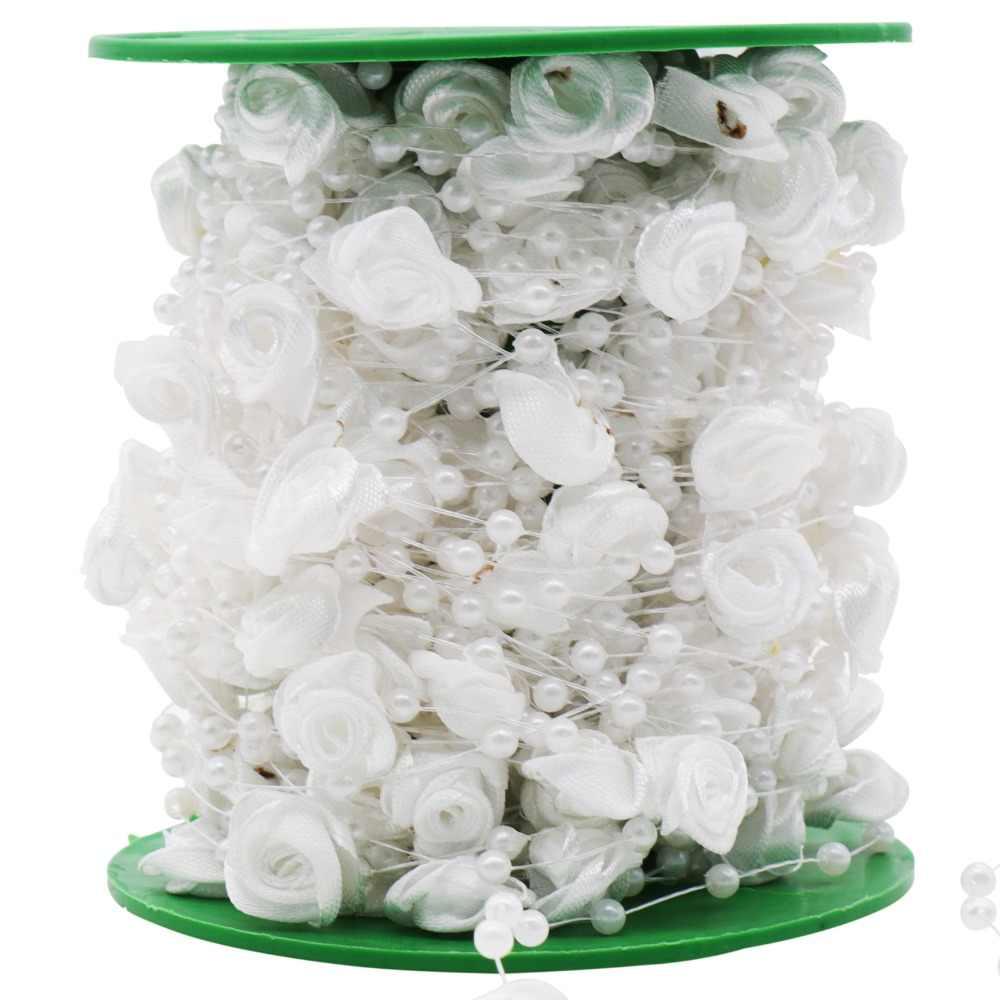 5 متر خيط صنارة الصيد بوكيه ورد صناعي زهرة حبات اللؤلؤ سلسلة زهرة جارلاند لحفل الزفاف باقة الزفاف اكسسوارات للشعر