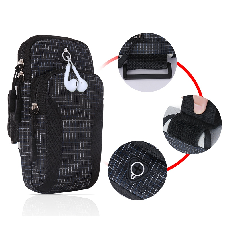 Sport Armband Case Holder Smart Phone Bag Zippered Fitness Running Arm Band Bag Pouch Adjustable Jogging Workout Phone Cover