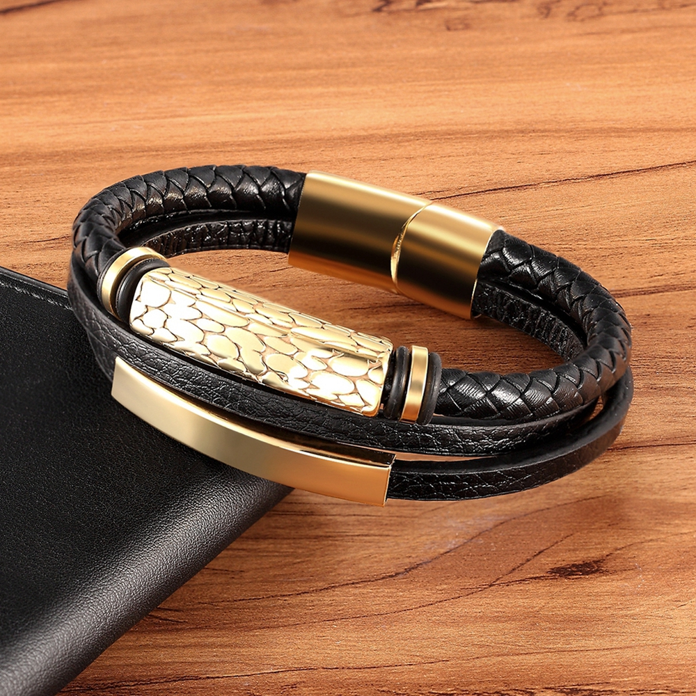 Geometric Pattern Multi-layer Accessories Black Men's Leather Bracelet Luxury Jewelry Valentine's Day Gift Free Shipping