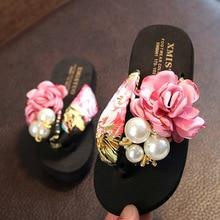 2020 Summer Girls Children Flip-flops Slippers Kids Fashion Non-slip Beach Shoes Clip Sandals Flowers Women Wear Girls Slippers