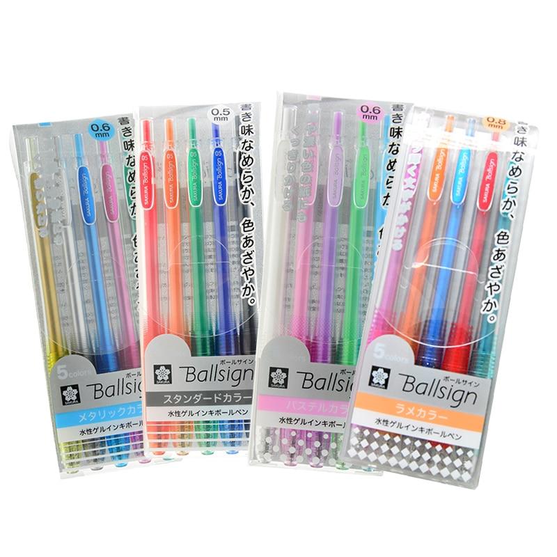 Sakura Ballsign Mulited Colors Gel Ink Pen BallPoint Pen hand-painted Pen 0.5/0.6/0.8mm 5/10 Colors Set Office and School Supply