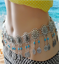 Bohemian Ancient Silver Sunflower Hollow Waist Chain Blue Coin Tassel Belly Dance Body Chain Girl Beach Dress Belt Jewelry stylish hollow out tassel snack chain waist belt for women