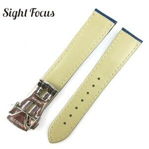 Image 4 - Black Brown Blue Watch Band for Omega Leather Band De Ville Seamaster Speedmaster Strap 19mm 20mm 21mm Deployment Clasp Bracelet