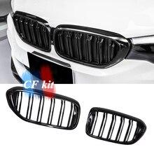 CF комплект G30 M5 Стиль углеродного волокна и m-цвет глянцевый черный Авто Передние Гонки Грили для BMW G30 F90 M5 5 серии стильная решетка решетки