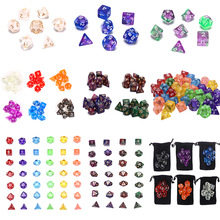 Acrylic-Dice Dice-Game Polyhedral Colorful-Accessories 7pcs/Set for Multi-Sided Digital
