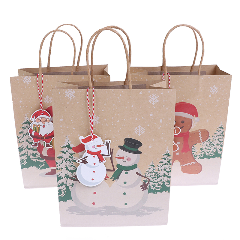 Christmas Gift Bag Shop Loot Santa Claus Candy Package Recyclable Bags Craft