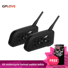 QPLOVE oreillette Bluetooth, VnetPhone V6 pour moto, appareil de communication pour casque, kit mains libres portée 1200M, kit mains libres avec fonctions FM et musique