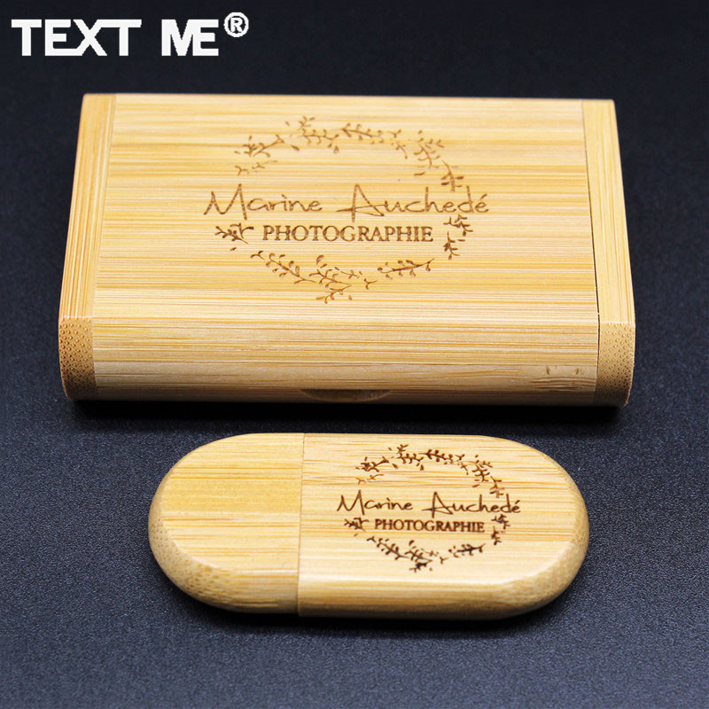 TEXT ME Free Photography LOGO Print Carbonized Bamboo Usb Flash Drive Usb 2.0 4GB 8GB 16GB 32GB 64GB Engrave Gift