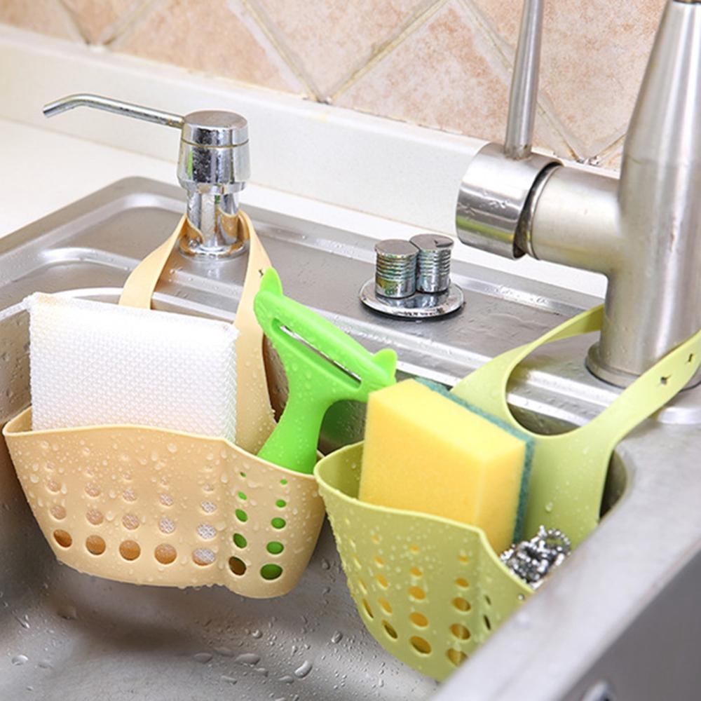 New Creative Multifunction Snap-On Drain Sponge Hanging Bag Kitchen Drain Basket Storage Hanging Bag Drain Basket Bracket