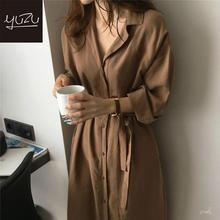 2020 Summer New Fashion Female Batwing Sleeve Vintage Solid Shirt Dress Korean Style Women Casual Loose Wrap Dress Oversize