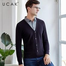 UCAK Brand Pure Merino Wool Sweater Fake Two Piece 2019 New Arrival Casual Winter PullHomme Streetwear Thick Warm Sweaters U3124