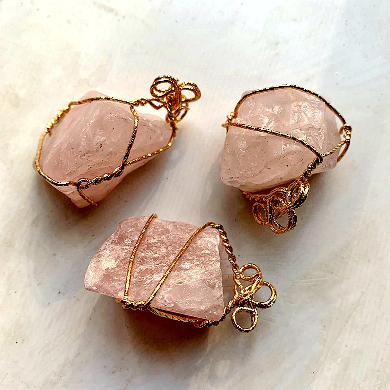 Copper Wire Wrapped Earrings with Hot Pink Stones