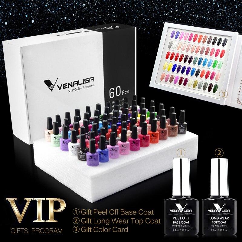 #61508 venalisa 60 cores cor gel um conjunto incluindo base/superior gel profissional unha arte gel beatiful longa duração gel polonês