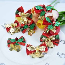 6pcs Decorated Christmas Tree Bow Ties Metal Bells New Year 2021 Gift Cloth Bowknot Decor Christmas Bells Decoration