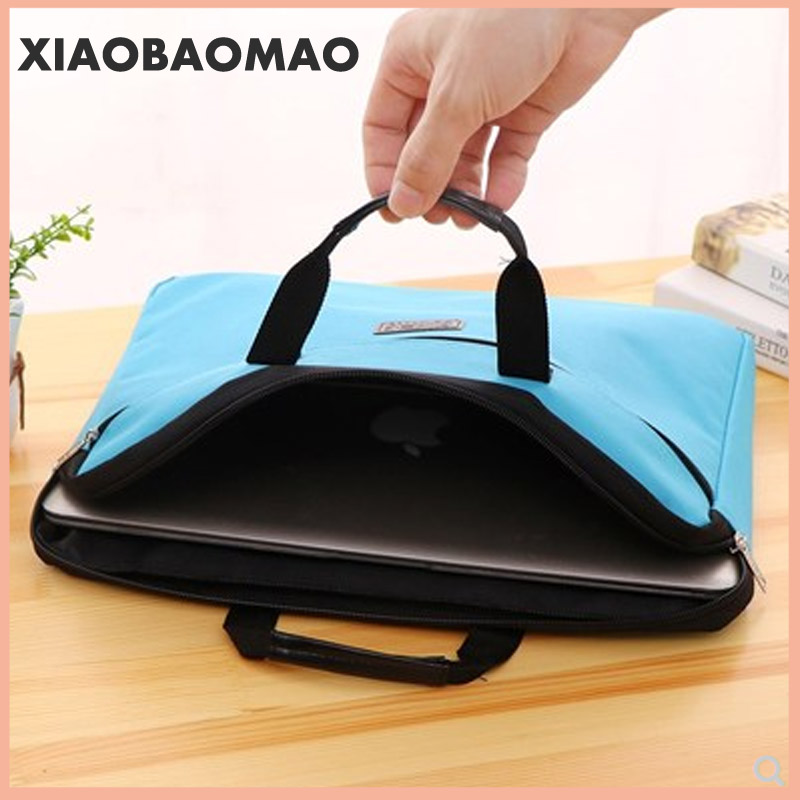 6 colors A4 Document Bag Big Capacity Double Layers Book File Folder Holder with Handle Zipper Waterproof Canvas Handbag for Bus 3