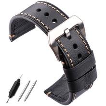 Handmade Genuine Leather Watch Bands Belt 22mm 24mm Women Men Black Brown Watchbands Strap With Stainless Steel Pin Buckle все цены