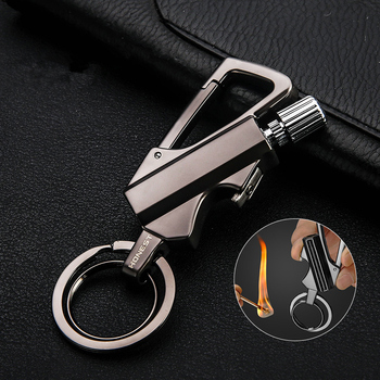 ZK30 New  Matches  Kerosene Lighter Waterproof Flint Free Fire Starter Outdoor Survival Tool Portable Bottle Opener Keychain