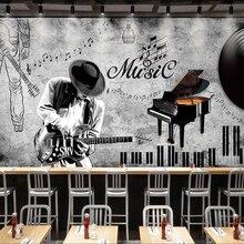 Papel tapiz 3D personalizado pintado a mano con tema de música retro pintura decorativa para sala de estar restaurante dormitorio Hotel \ n \ npapel tapiz 3D \ n