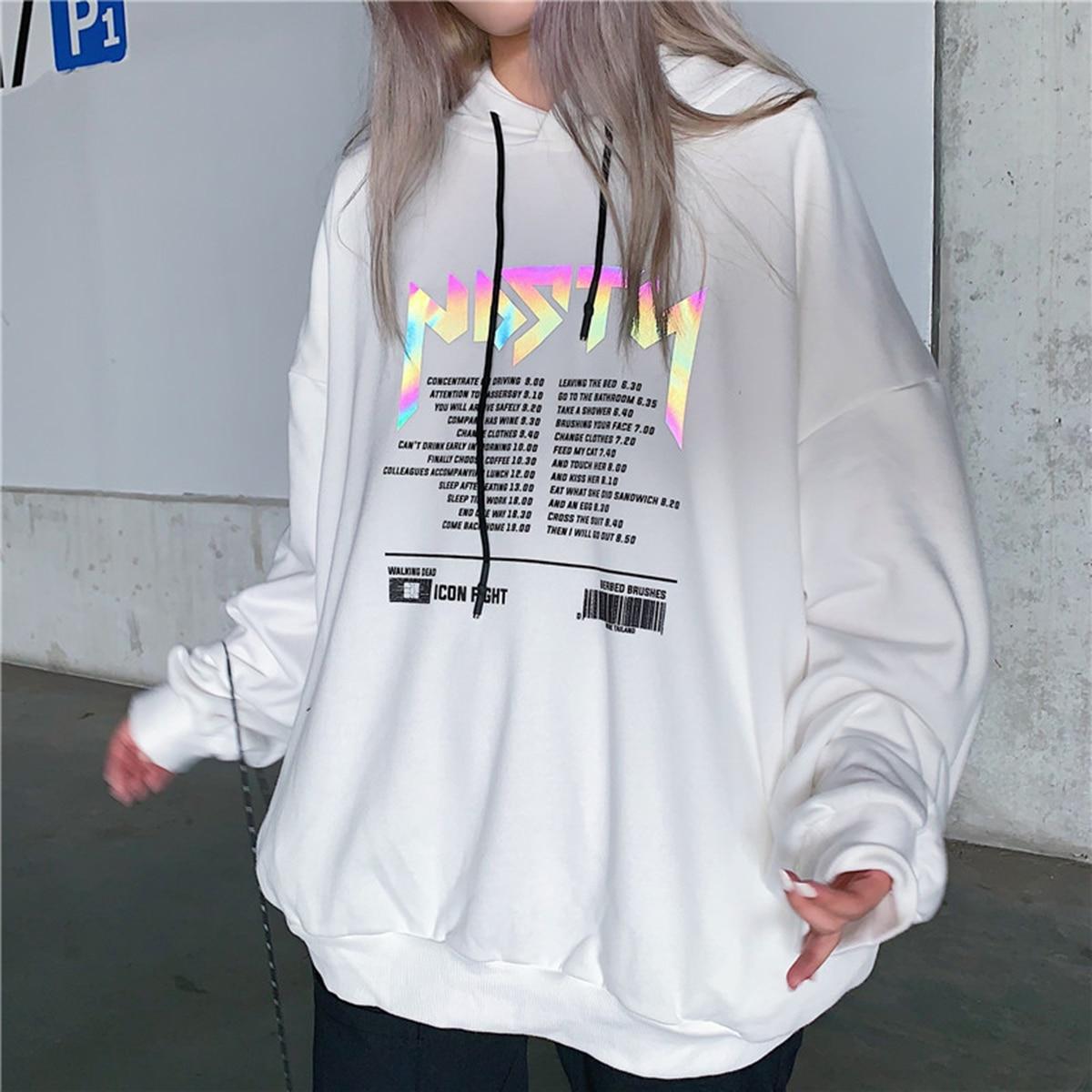 Reflective Letter Print Sweatshirt Hoodies 2020 Spring Autumn Korean Casual Pullover Cotton Oversized Hoodie Streetwear