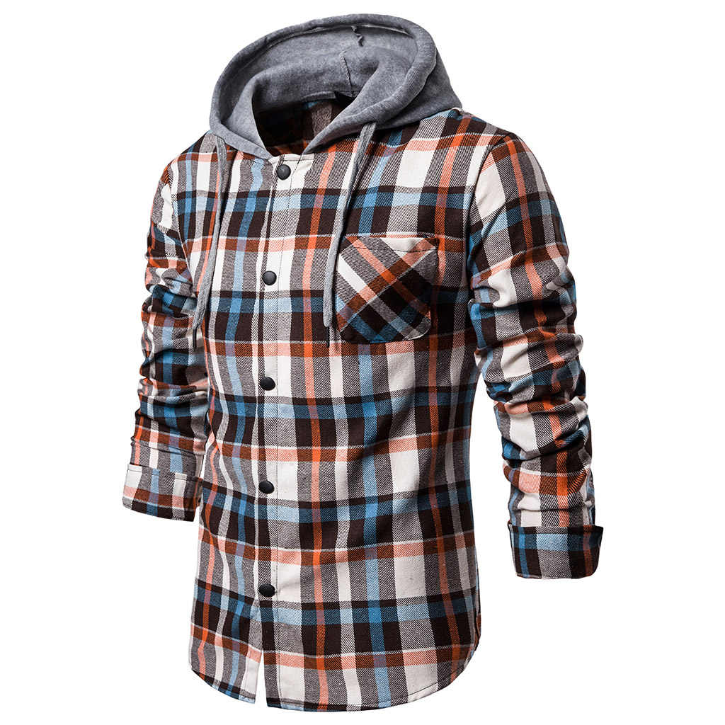 MoneRffi Femme 2019 hoodies Trainingspak mannen Herfst Casual Plaid Shirts Lange Mouwen Trui Shirt Top Hooded Blouse Sportkleding