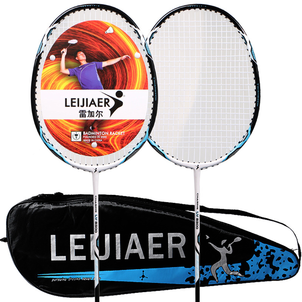 LEIJIAER 2pcs Badminton Racket Competition Plume 2 Player Badminton Bat Carbon Fiber Badminton Racquet With Bag Outdoor Sport