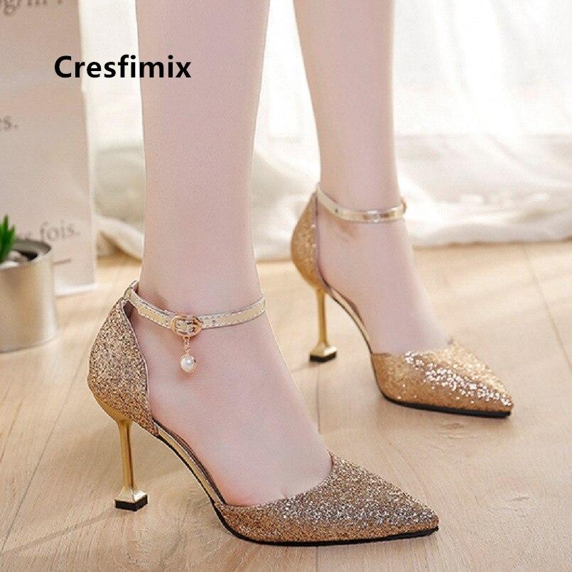 Cresfimix Women Fashion Sexy Silver Wedding High Heel Shoes Lady Casual Golden Party High Heels Night Club Black Pumps B5505