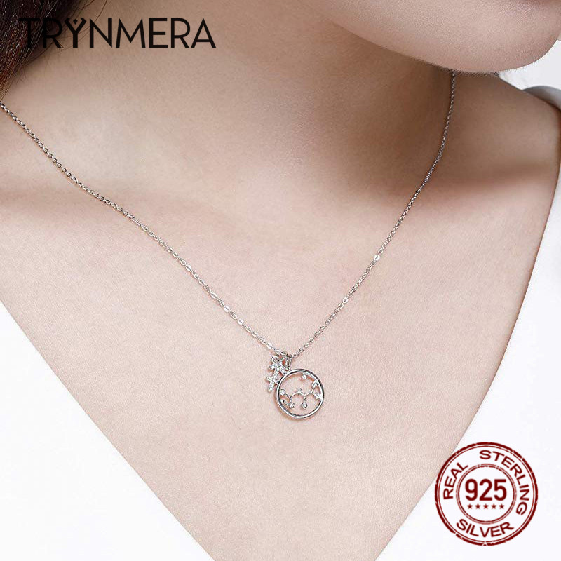 Trynmera 925Sterling Silver Zodiac Pendant Necklace Star Cubic Zirconia 12 Constellation Horoscope Necklaces for Women Girls