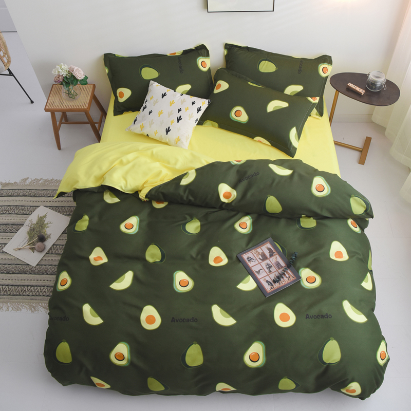 Bedding-Set Duvet-Cover Avocado Home-Textiles King Queen-Size Green Kids Cartoon Adult title=