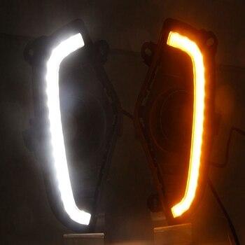 LED Daytime Running Light for Toyota RAV 4 RAV4 2019 Waterproof ABS 12V Car DRL Fog Lamp with Yellow Turn Signal Style Relay