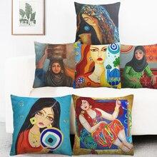 Middle East Islamic Oil Paintings Women Lady Cushion Covers Arabian Folk Culture Art Pillow Cover Bedroom Linen Pillowcase