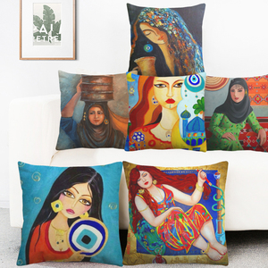 Image 1 - Middle East Islamic Oil Paintings Women Lady Cushion Covers Arabian Folk Culture Art Pillow Cover Bedroom Linen Pillowcase