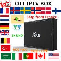 World IPTV Box X96H TV BOX android 9.0+9000Live France Italy USA UK German spain Arabic Adult xxx smart iptv subscription box