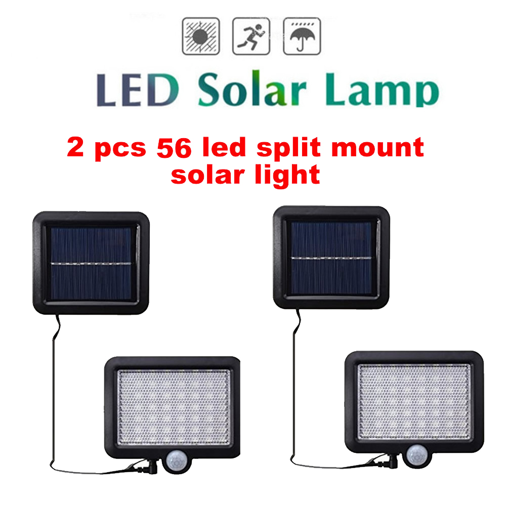 2/4pcs LED Solar Light 100/56/30 LED Outdoor Wireless Solar Powered Sensor Wall Lamp With Solar Panel Light Bulb Energy Led Sola