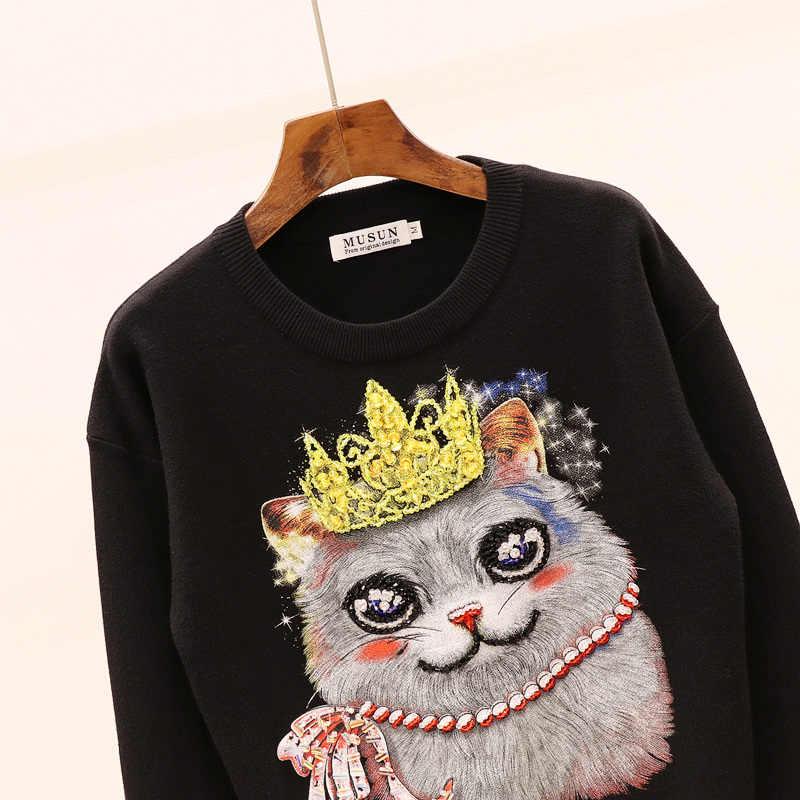 가을 새로운 풀오버 여성 니트 세트 패션 구슬 장식 조각 긴 소매 스웨터 + 작은 피트 바지 두 조각 세트 탑과 바지