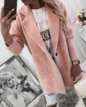 Женское модное повседневное однотонное пальто на пуговицах с