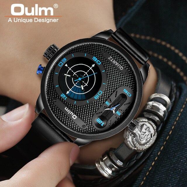 Oulm Büyük Boy Moda LED Tarzı Serin Erkekler Saatler Lüks Marka Erkek Kuvars Saat Iki Zaman Dilimi Erkek Deri kol saati