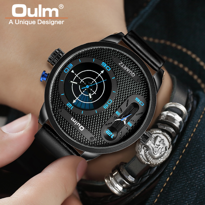 Oulm Big Size Fashion LED Style Cool Men's Watches Luxury Brand Male Quartz Clock Two Time Zone Men Leather Wristwatch